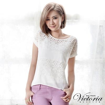 Victoria 真兩件蕾絲雪紡拼接寬鬆T-女-白