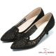 CUMAR時尚美人 閃亮水鑽裝飾尖頭高跟鞋-黑色 product thumbnail 1