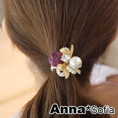 AnnaSofia 花苞繫珠墬 純手工彈性髮束髮圈髮繩(紫紅花系)