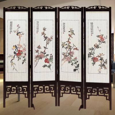 時尚屋 中國風國畫彩色花鳥6尺雙面屏風 寬182cm 多色可選-免組