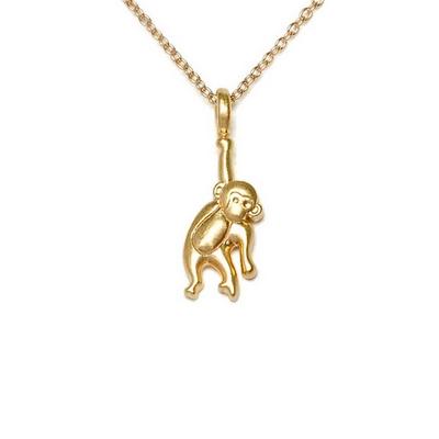 Dogeared 美國品牌Reminder金色許願項鍊-立體猴子