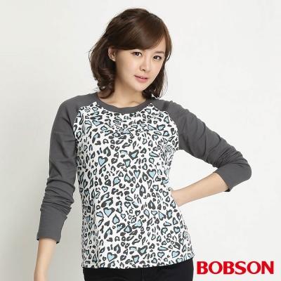 BOBSON-女款豹紋拼接色長袖上衣-灰01