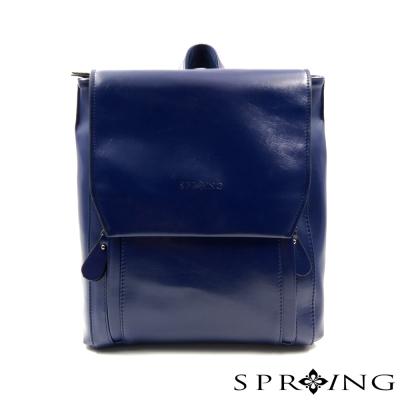 SPRING - 簡約牛皮方形後背包-藍