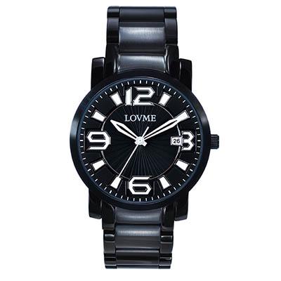 LOVME 懷舊復古個性數字腕錶-IP黑x白色刻度/32mm