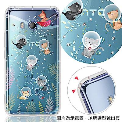 YOURS HTC 全系列 彩鑽防摔手機殼-喵星人