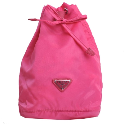 PRADA 經典三角LOGO尼龍帆布束口萬用包/化妝包(粉桃紅)