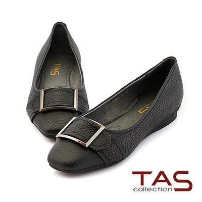 TAS 寬版釦帶荔枝牛皮內增高娃娃鞋-經典黑