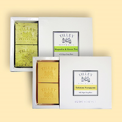 Tilley百年特莉 香氛植物皂4入禮盒x2款香味 (大溪地赤素馨+木蘭花&綠茶)