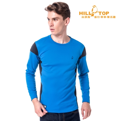 【hilltop山頂鳥】男款吸濕保暖刷毛上衣H51MG5藍/黑