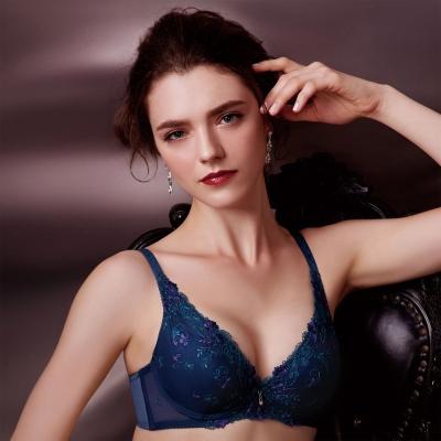 華歌爾 伊珊露絲綺麗花園  D罩杯內衣(孔雀藍)