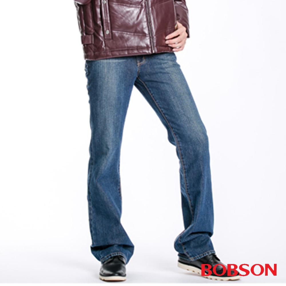 【BOBSON】男款鬼爪痕輕刷白低腰喇叭褲(藍53)