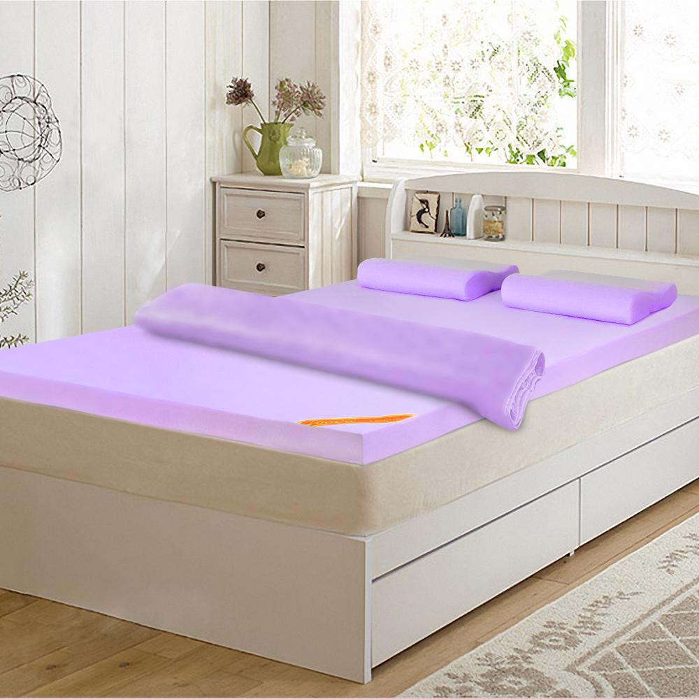 LooCa-吸濕排汗6cm記憶精省組(紫)-加大