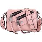 Juicy Couture OLYMPIC 雙拉鍊設計珠光皮革斜背包(煙燻粉)