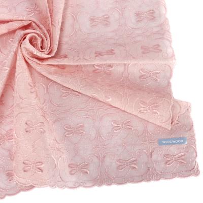 WEDGWOOD 浪漫蝴蝶刺繡帕巾-粉紅色