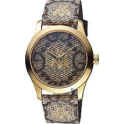 GUCCI古馳 G-Timeless 雙G 蜜蜂印花手錶-38mm YA1264068