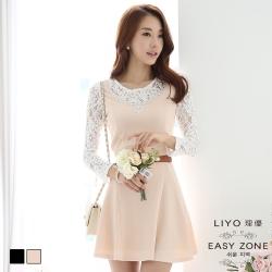 洋裝 韓系蕾絲假兩件洋裝(杏,黑)LI