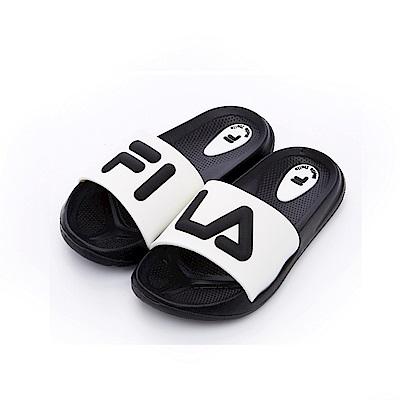 FILA KIDS 中童MD運動拖鞋-黑白2-S431S-010