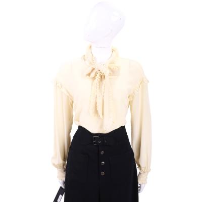 PINKO 米色抓褶領結長袖絲質上衣