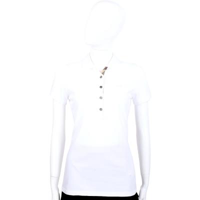 BURBERRY 白色經典格紋飾短袖POLO衫
