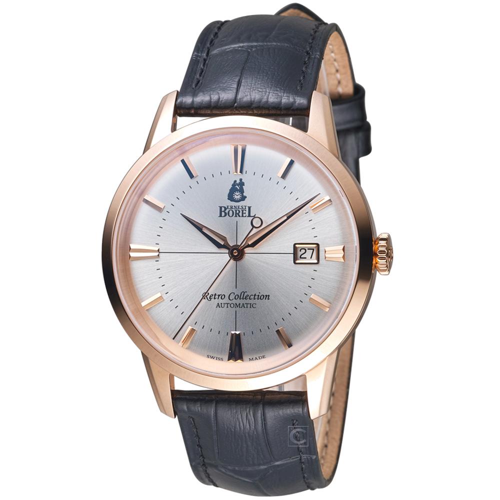 依波路E.BOREL復古系列經典致意時尚腕錶(GGR8580-214BK)