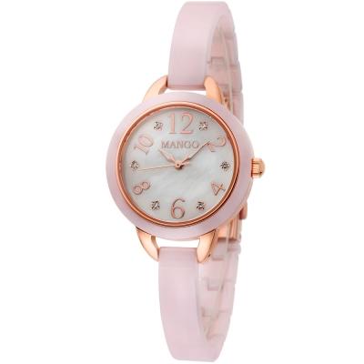 MANGO 玩色愛戀晶鑽陶瓷時尚腕錶-白色x粉紅色/25mm