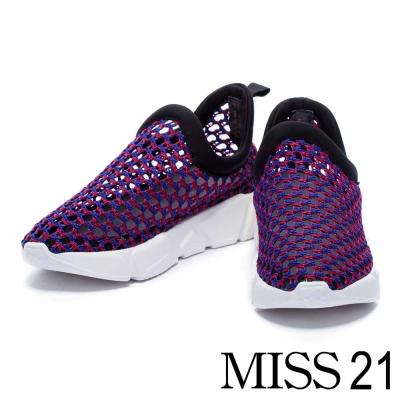 休閒鞋 MISS 21 拼色編織網布厚底休閒鞋-紅藍