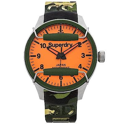 Superdry極度乾燥 活力潮流時尚手錶-橘X迷彩/44mm