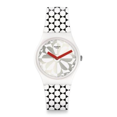 Swatch 狂歡夜系列 RUCHE銀色蜂巢手錶-34mm