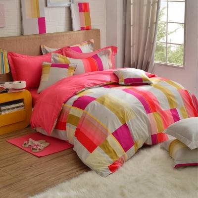 韓式風格-紅-精梳棉-加大四件式薄被套床包組