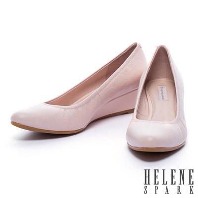 楔型鞋-HELENE-SPARK-菱格壓紋牛皮楔型高跟鞋-粉