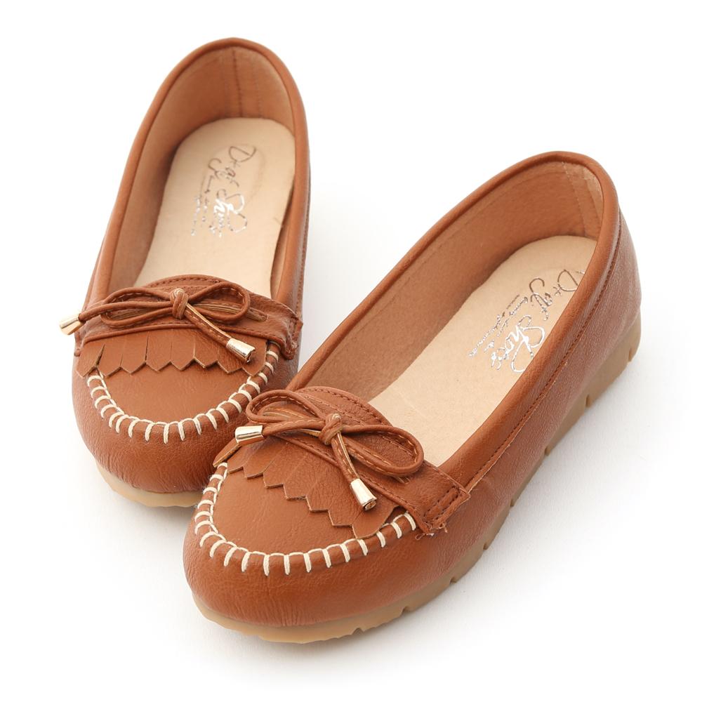 D+AF 自在漫步.MIT流蘇造型樂福健走鞋*棕