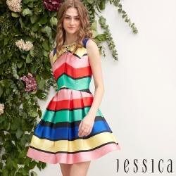 JESSICA - 氣質夢幻彩色條紋修身洋裝