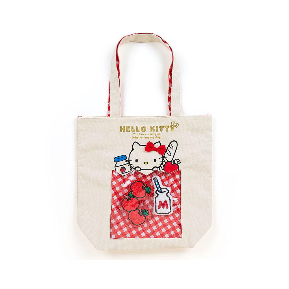 Sanrio HELLO KITTY創意開窗帆布手提袋(格紋購物袋)
