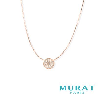 MURAT Paris米哈巴黎 優雅圓形滿鑽項鍊(玫瑰金)