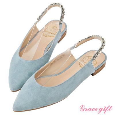 Grace gift-鑽鍊後鬆緊繫帶尖頭平底鞋 淺藍