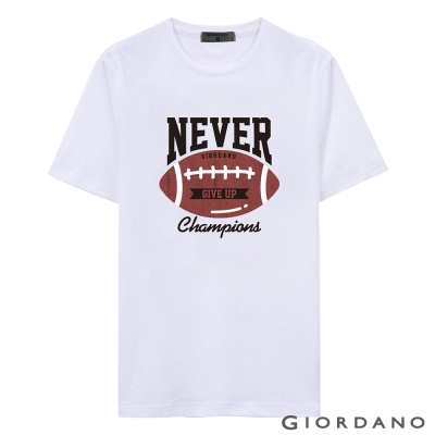GIORDANO-男裝美式英文口號休閒短袖TEE-26-標誌白