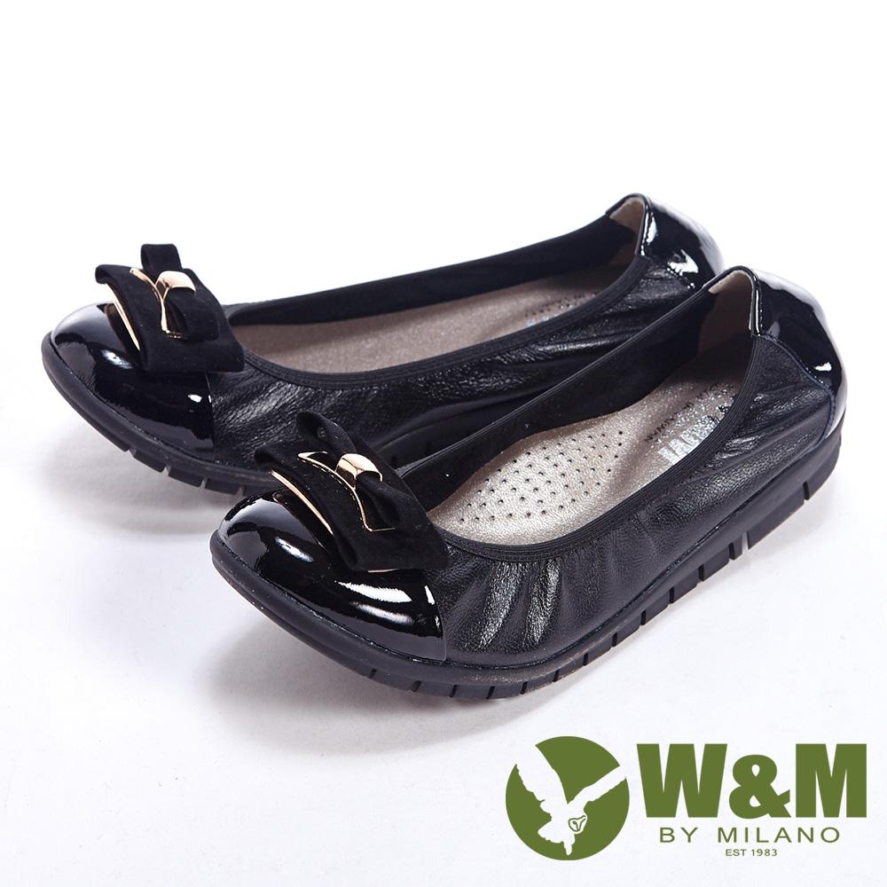 W&M 麂皮緞帶優雅蝴蝶結柔軟女鞋-黑