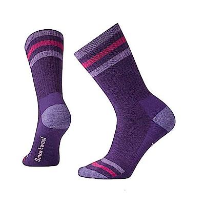 SmartWool 羊毛襪女健行條紋中量級減震中長襪 山嵐紫