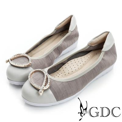 GDC百搭-粉彩鱷魚紋水鑽拼接真皮厚底娃娃鞋-槍灰色