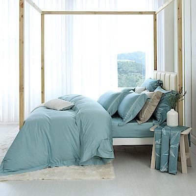 HOYAH Series青瓷綠 特大頂級500織刺繡匹馬棉被套床包組-配加大被套