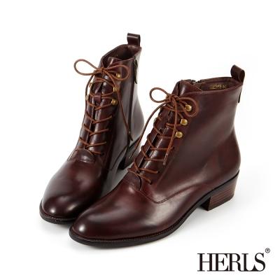 HERLS 外真皮 中性帥氣粗跟綁帶短靴-紅棕色