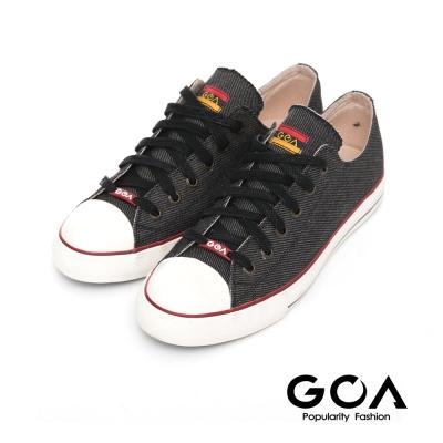 GOA 女款牛仔單寧低筒帆布鞋-黑色