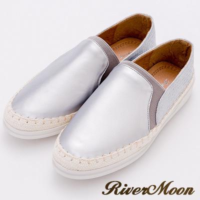 River&Moon休閒鞋-加大尺碼金屬編織拼接麻編休閒鞋-銀系