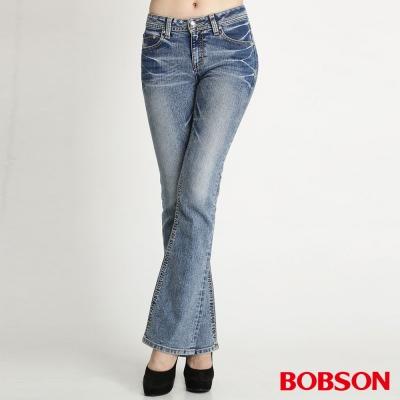 BOBSON 女款縱向重刷紋小喇叭褲-藍色
