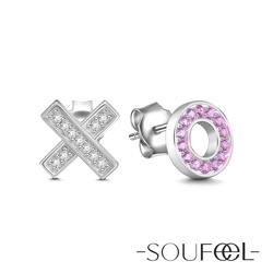 SOUFEEL索菲爾 925純銀耳環 愛的擁吻