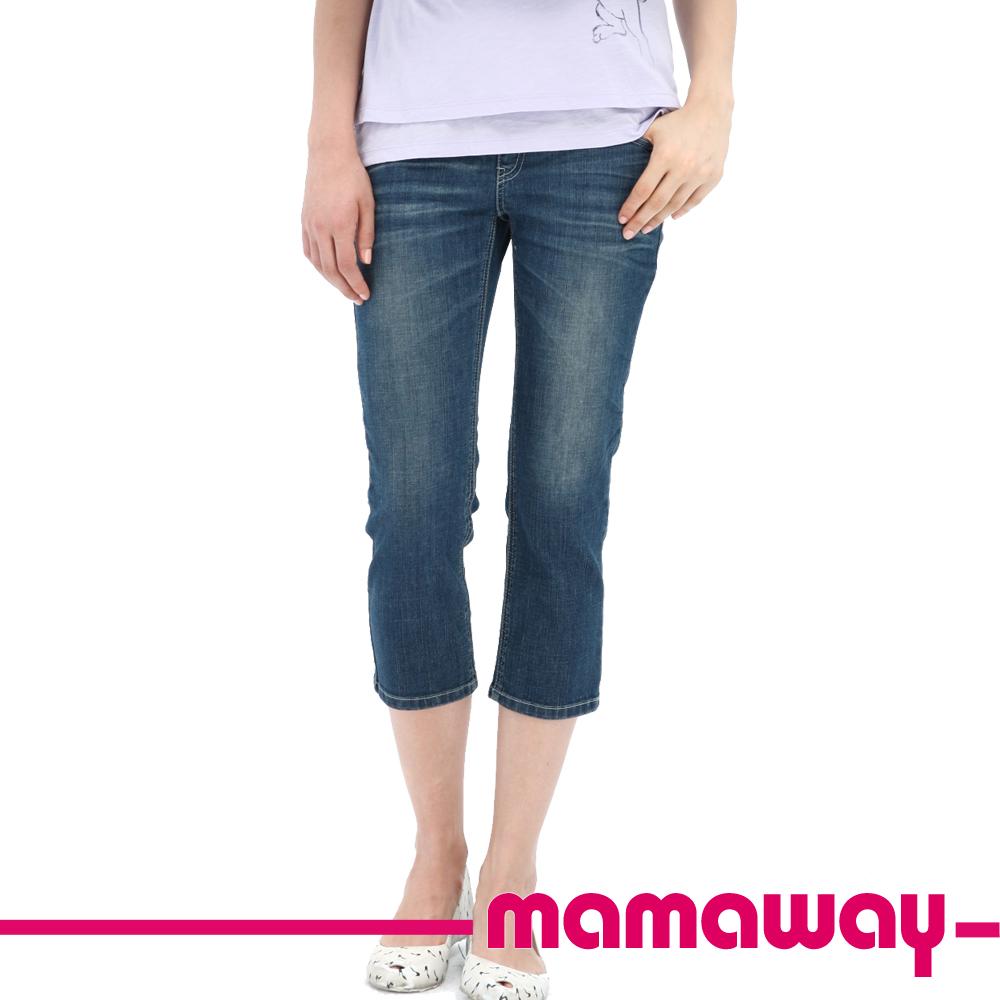 【Mamaway】孕期牛仔七分褲(刷白藍)
