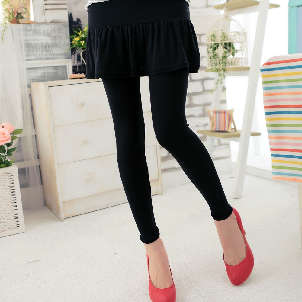 【La Belleza】素色荷葉裙擺假兩件式棉質褲裙+內搭褲