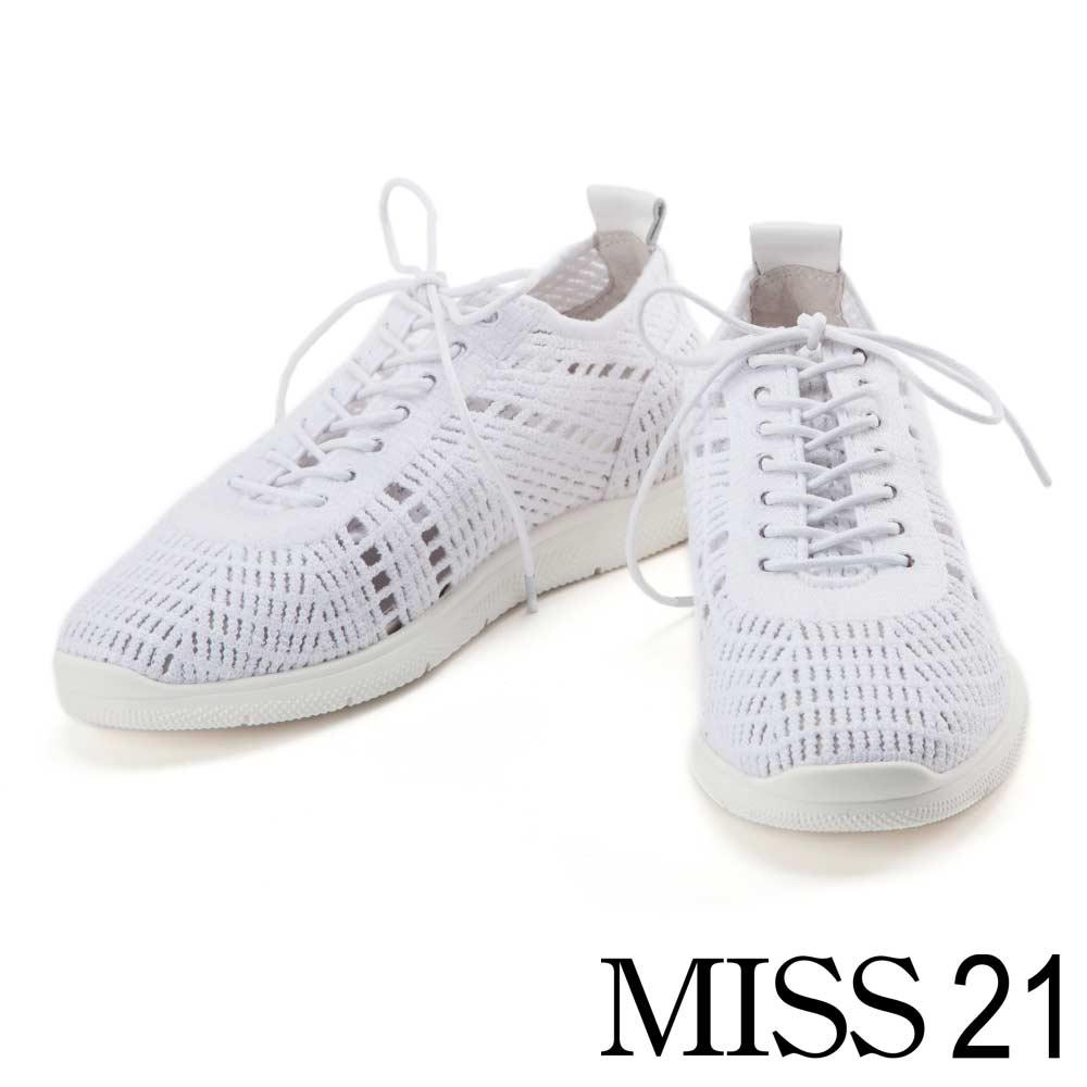 休閒鞋 MISS 21 簡約時尚鏤空飛織布休閒鞋-白