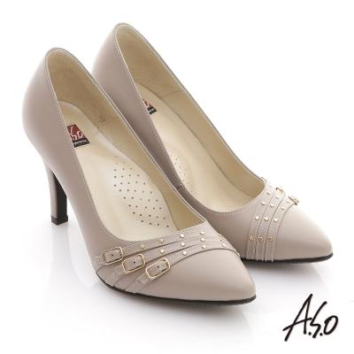 A.S.O 減壓美型 全真皮多條帶金屬高跟鞋 灰