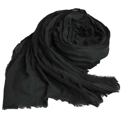 BURBERRY 經典抓皺造型格紋義大利製絲棉混紡長圍巾(深墨綠格)